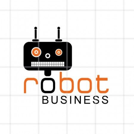 Buy now! This logo design is a geometric logo of a black robot and text.  This would be a great logo option for a tech company, maker space, or electronics repair business.
