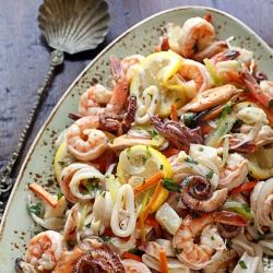seafood salad with shrimp, scallops, octopus, squid, and mussels ...