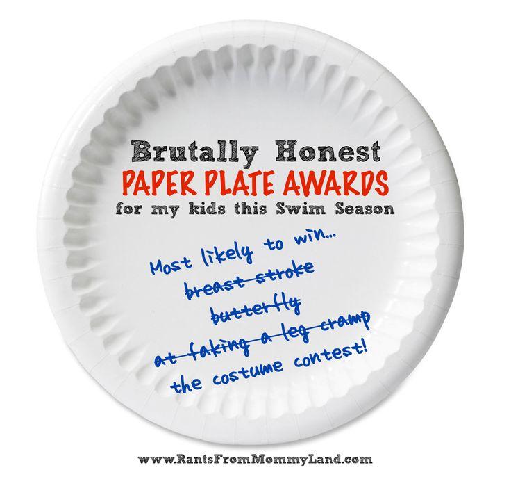 RANTS FROM MOMMYLAND: Brutally Honest Paper Plate Awards for this Swim Season