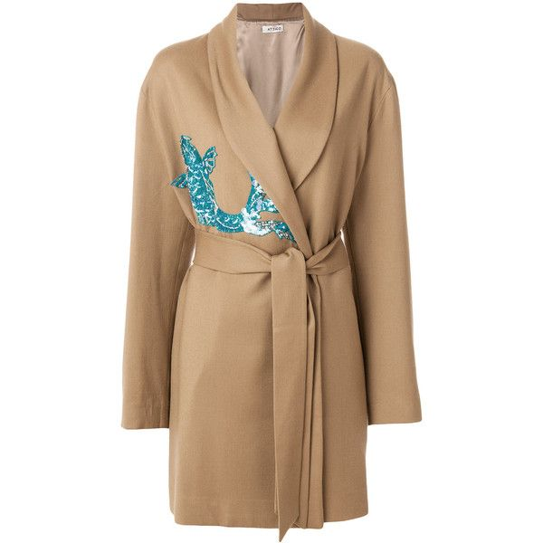 Attico belted wrap coat with sequin appliqué (33.822.705 IDR) ❤ liked on Polyvore featuring outerwear, coats, brown, beige wrap coat, sequin coat, beige coat, belted wrap coat and belted coat