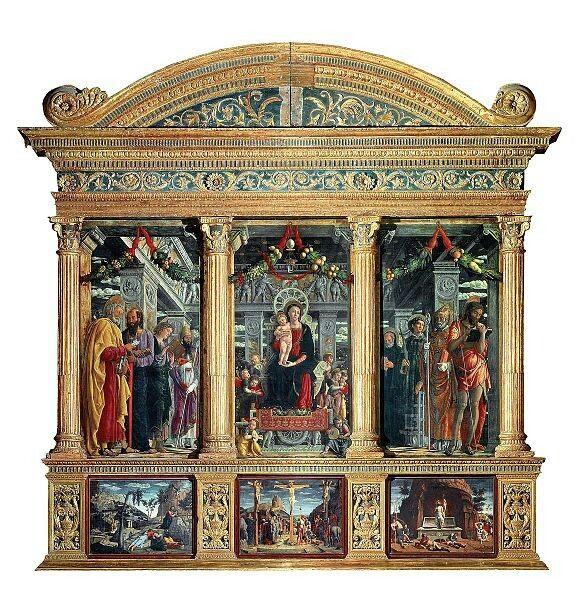 Andrea Mantegna(1431–1506)The San Zeno PolyptychDatefrom 1457 until 1460Mediumtempera on panel; bois sculpté et doréDimensionsHeight: 480 cm (189 in). Width: 450 cm (177.2 in). each panel: 220 × 115 cm (86.6 × 45.3 in)Current location  Basilica of San Zeno, Verona