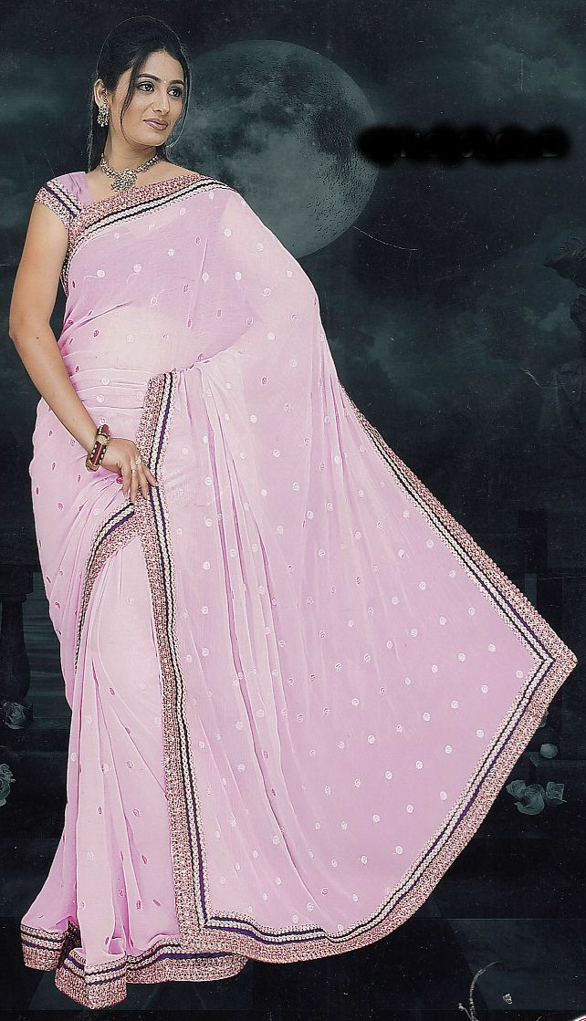 General Product Descriptions :  	Burhani Fashions introduces an Excellent Light Pink with Lace border saree to match you pleasant light personality for a social occasion. It brings out the passionate look of girls or women who wears it. The light pink color symbolizes the elegance & Softness of the women or the Girl who owns this priceless art.