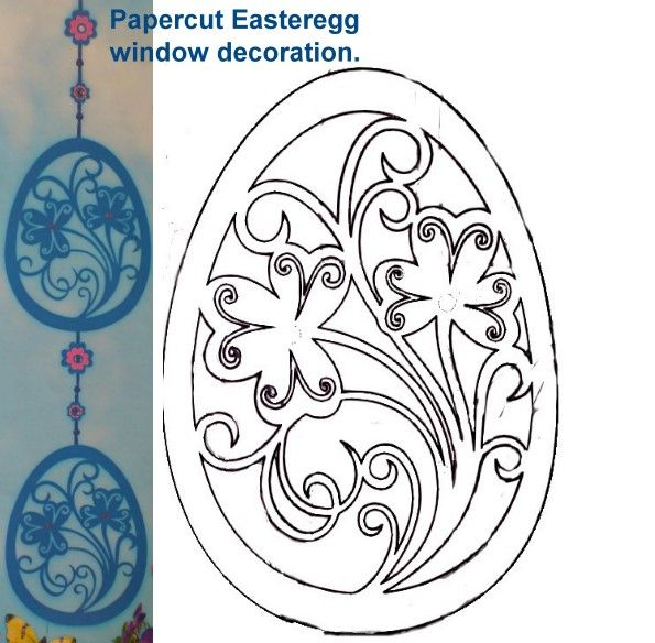 Papercut Easteregg window decoration part two.  I prepared some Easter crafts.  The template was a bit hard to get down, but hey it's only for the cut ;-)     If you printed the template don't cut it out, put trace it with a normal pencil.  Now turn it and put it face down on your cardstock, rub with a teaspoon on the back.  It will stain on your actual paper, now you can cut it out more easy, instead of twice the work!  (just rightclick, save and print :-)  Share and let them dangle ;-)