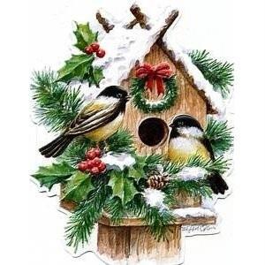 Carol Wilson Christmas Winter Birdhouse w/Chickadees Boxed Greeting Cards 15 ct.
