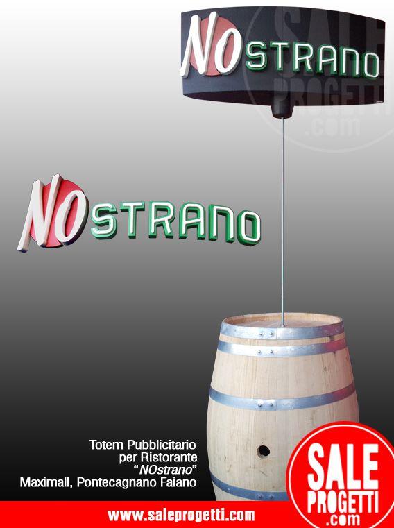 Logo e totem pubblicitario montato su bottein polistirolo e acciaio.  www.saleprogetti.com