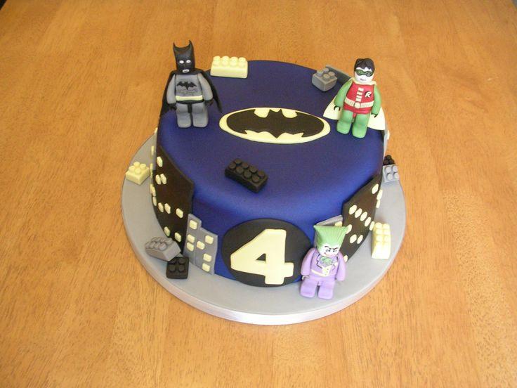 Batman lego Birthday cake with hand-made lego Batman, Robin and Joker on x www.facebook.com/fireflycakes