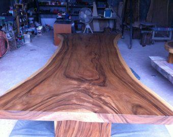 Borde mesa de comedor madera de Acacia borde vivo losa sólida