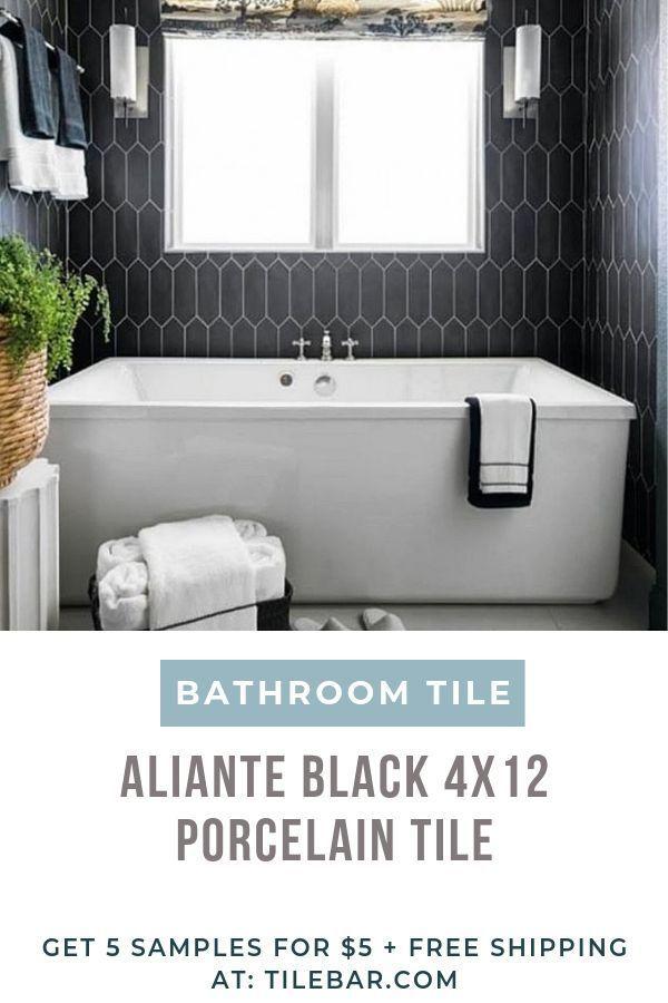 Aliante Black 4x12 Porcelain Tile In Matte Finish Black Hexagon Tile Hexagon Tile Bathroom Porcelain Tile