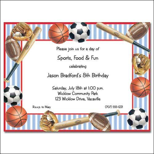 cool sports birthday invitations ideas