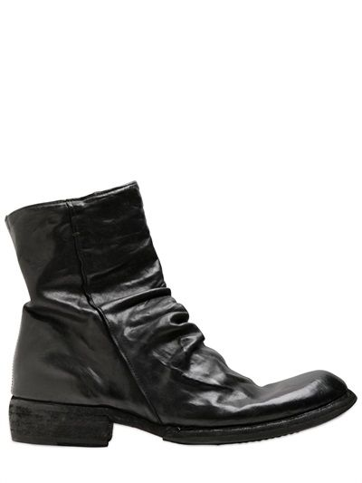 OFFICINE CREATIVE - BRUSHED WASHED WRINKLED LEATHER BOOTS - LUISAVIAROMA - LUXURY SHOPPING WORLDWIDE SHIPPING - FLORENCE