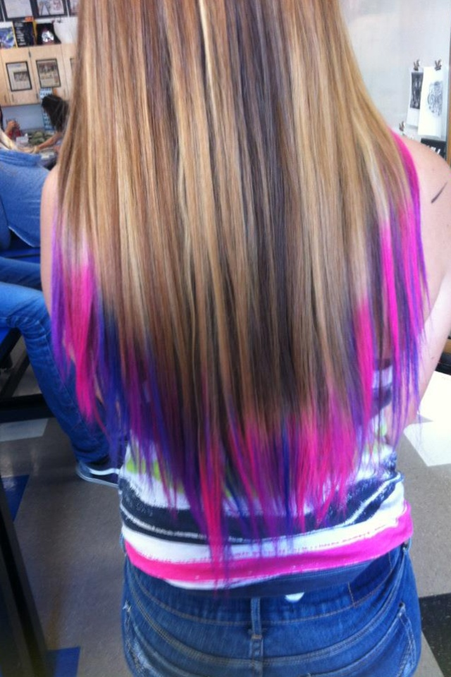 dip dye hair purple and pink - photo #29