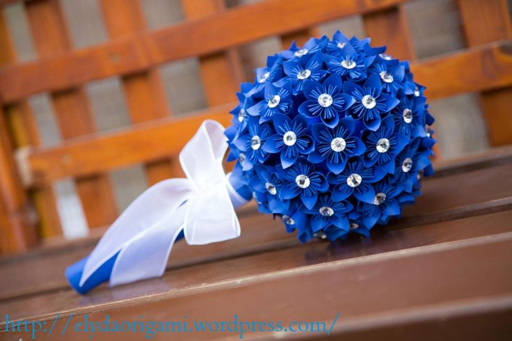 origami blue wedding