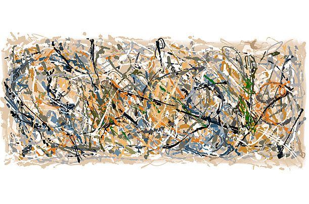 No había otra manera de honrar artista abstracto Jackson Pollock que con una pintura de goteo caótico. Fuente: Time