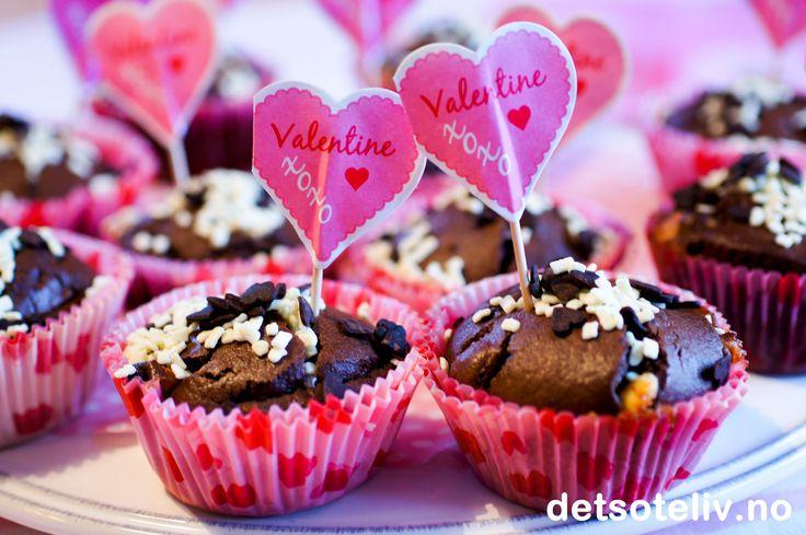 Veldig knust hjerte doble sjokolademuffins