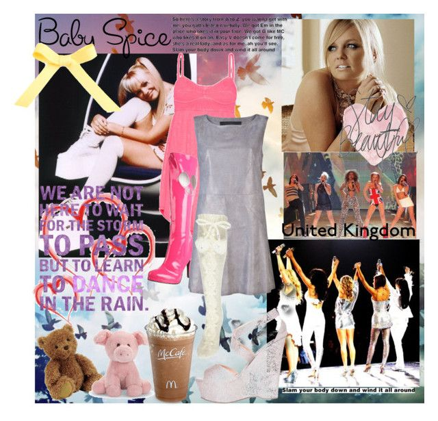 """emma bunton: ""baby spice"""" by framili ❤ liked on Polyvore featuring Dirty Laundry, Jellycat, By Emily, Shabby Chic, Bocage, TNA, Funtasma, Drome, River Island and London Rebel"