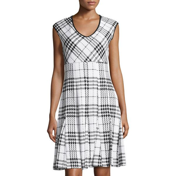 Taylor/Siouni & Zar Corp V-Neck Jacquard Fit and Flare Dress ($26) ❤ liked on Polyvore featuring dresses, ivory blac, deep v-neck dress, low v neck dress, v neck fit and flare dress, white fit and flare dress and white v neck dress
