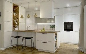 Modern kitchens oak worktop wall tiling white fronts