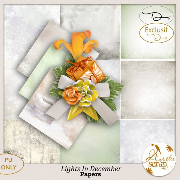 "Kit ""Lights In December"" by Aurélie Scrap. December is here and with him there comes the cold. With this kit exclusively created for all the customers of Digiscrapbooking.ch,  I suggest you creating completely warm pages which can reflect only the happiness of these moments in family which you go to live in this magnificent December!! #scrap #scrapbooking #digital #inspiration #DIY"