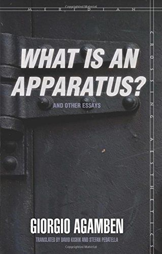 """What Is an Apparatus?"" and Other Essays (Meridian: Crossing Aesthetics) by Giorgio Agamben http://www.amazon.com/dp/0804762309/ref=cm_sw_r_pi_dp_uiX9vb040RMC0"