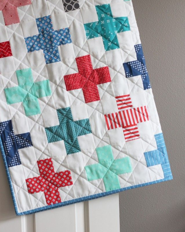 Plus Quilt in Red and Blue