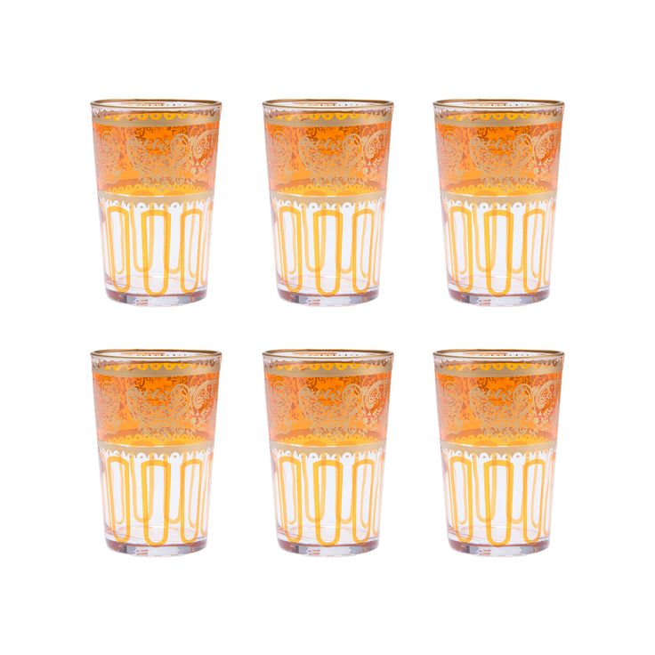 In Morocco, tea is served not in mugs but in distinctive glasses. These orange Moroccan tea glasses are the perfect link to an old tradition with modern style. They can serve double duty as votive cand...  Find the Orange Moroccan Tea Glasses - Set of 6, as seen in the Eclectic Holiday Entertaining Collection at http://dotandbo.com/collections/styleyourseason-eclectic-holiday-entertaining?utm_source=pinterest&utm_medium=organic&db_sku=CAS0021-org