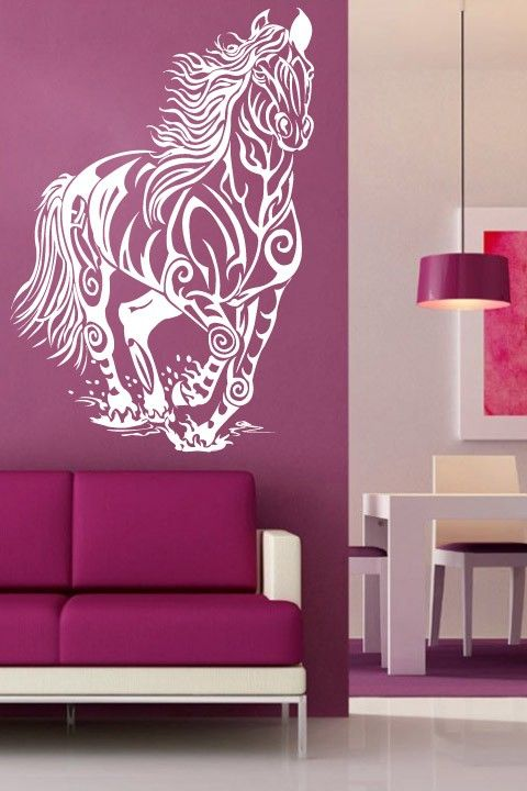 Tribal Horse Wall Sticker. Horses are great creatures to find space on the walls of your rooms and tribal motifs in wall décor when combined with these powerful and lightning speed beasts can transform the image of your walls. http://walliv.com/tribal-horse-wall-sticker-art-decal