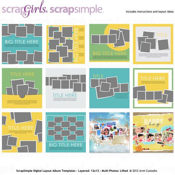 ScrapSimple Digital Layout Album Templates: Multi Photos-Lifted, designed by Armi Custodio, Scrap Girls, LLC digital scrapbooking product designer