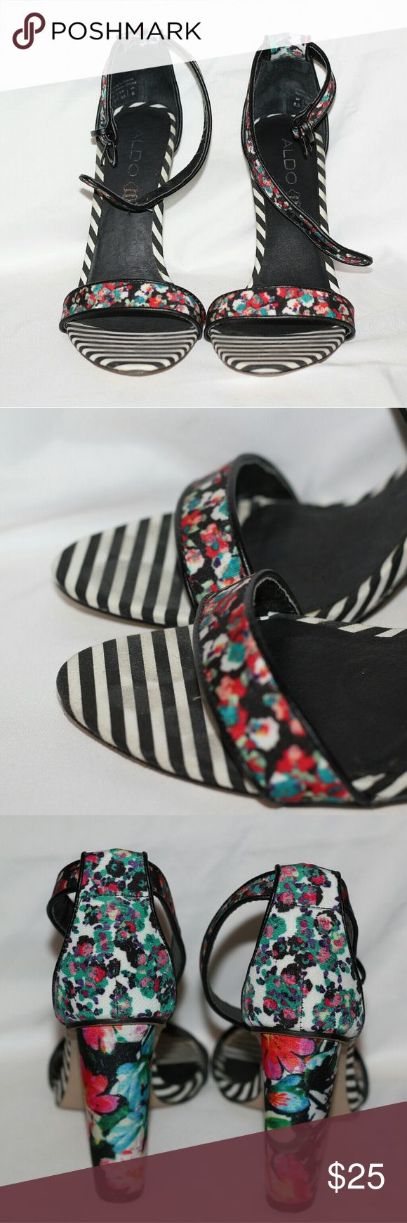 (ON HOLD) Aldo Floral & Stripe Heel Sandals These were worn once. I am in love with these. Very comfortable block heel. 4.5 inch heel. Price is firm. Aldo Shoes Heels