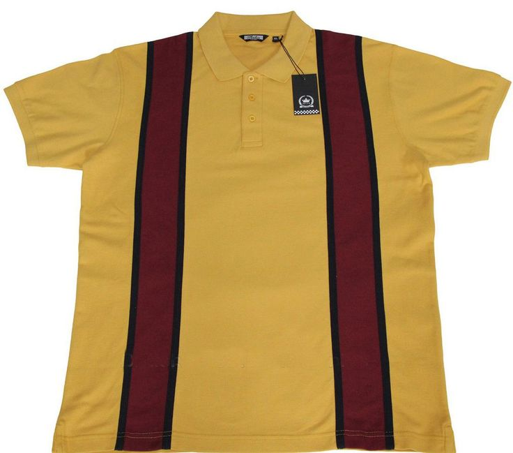 60s Style Pique Polo Shirt Mustard Mod Northern Soul High quality Cotton