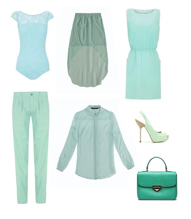 El verde agua se convierte en uno de los tonos pastel por excelencia en la próxima primavera 2012. Body de encaje (Blanco), falda asimétrica (Zara), vestido (Blanco), pantalón (Blanco), camisa con transparencias (Zara), zapatos peep toe (Zara) y bolso (Bimba & Lola). #look #outfit #springsummer2012