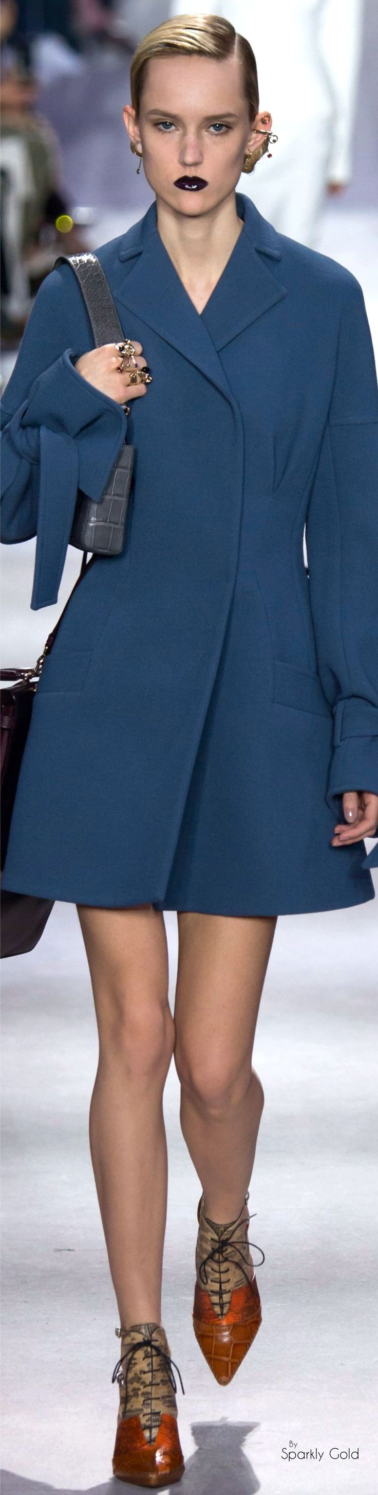 Christian Dior Fall 2016 RTW blue coat women fashion outfit clothing style apparel @roressclothes closet ideas