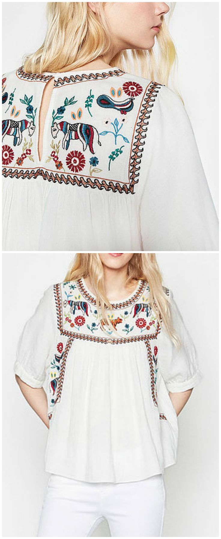 $36 - A Gypsy Embroidery Top from Pasaboho. This top exhibits brilliant colours with unique embroidered pattern.