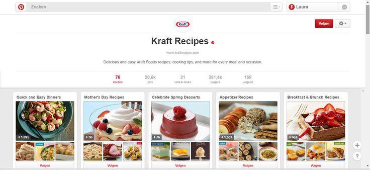 Kraft heeft een Pinterest Kraft Recipes waar er verschillende borden op terug te vinden zijn vol recepten met producten van Kraft. Zelfs borden per gelegenheid zoals moederdag. Tal van borden, recepten en ideeën zetten de pinterest gebruiker aan tot koken en bakken met de producten van Kraft natuurlijk!