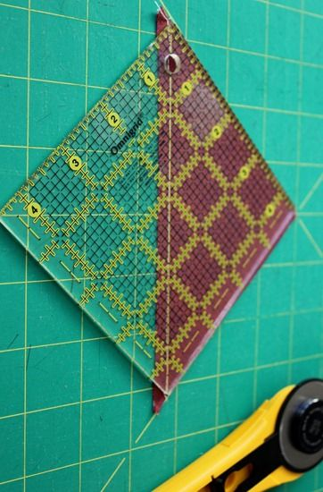 Squaring up half square triangles with Quilter in The Gap