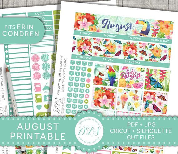 Erin Condren August monthly planner stickers, printable planner kit including Cricut and Silhoutte cut files