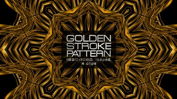 Golden Stroke Pattern Video Animation | 4 clips | Full HD 1920×1080 | Looped | H.264 | Can use for VJ, club, music perfomance, party, concert, presentation | #cinematic #concert #edm #fashion #frame #glamour #glow #gold #golden #loops #luxurious #music #pattern #slow #vj