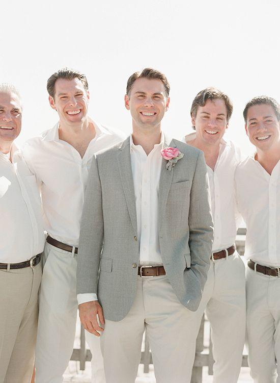 Except navy blazer. no ties Grooms men no blazer and no boutineer? Boat shoes