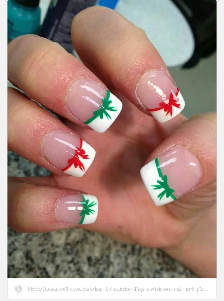 91 best awesome nails images on pinterest nail art designs nail christmas nail art french tipped bows to make the bows just paint two sideways hearts in the middle of your french then paint two lines for the ends of prinsesfo Choice Image