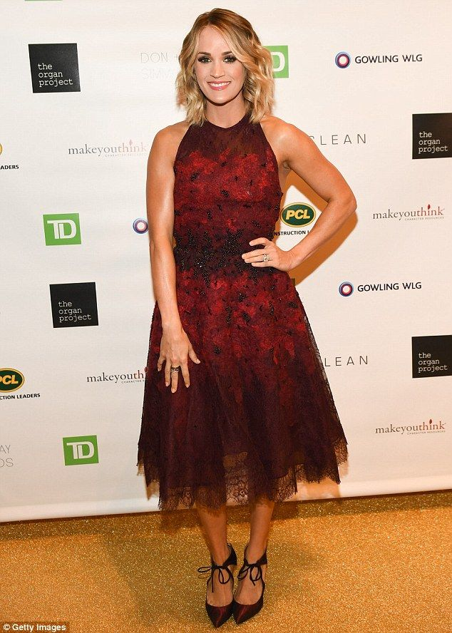 Rock the red! Carrie Underwood looked ravishing as she stepped out on Friday in Canada at The Organ Project Inaugural Gala