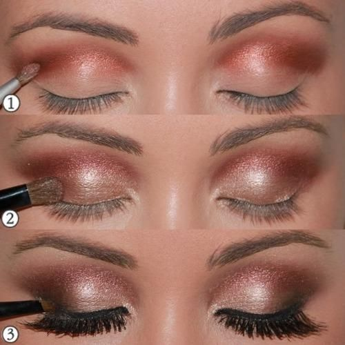 Wedding Eyes? 1 - Start the dished scoring well with the tone brown … 2 - Applied across the mobile lid golden shadow and smoky … 3 - End with eyeliner, and mascara,