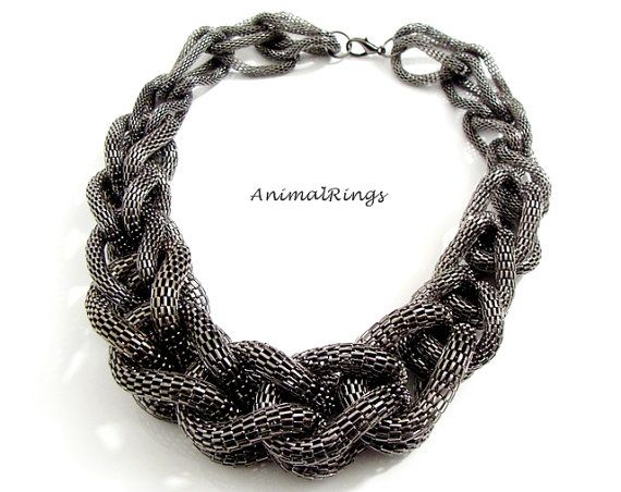 Black Statement Necklace Black Choker Necklace Big by AnimalRings