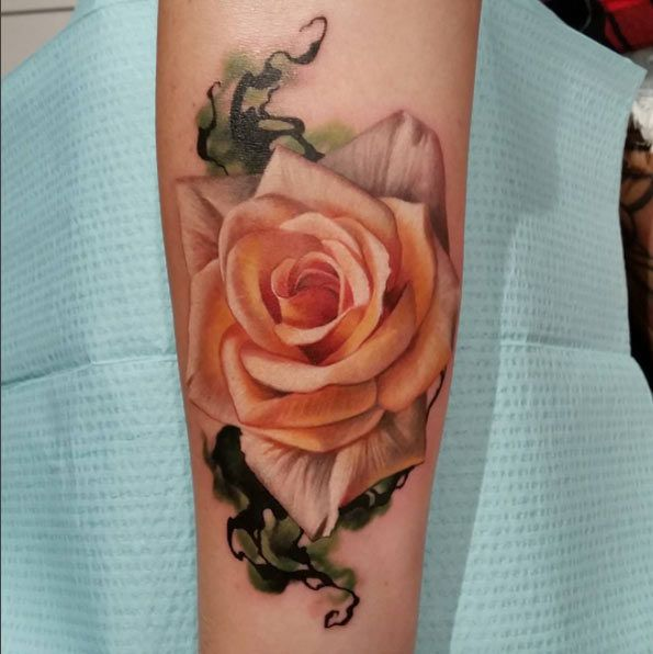 Luxurious Pink Rose Tattoo by Sarah Miller