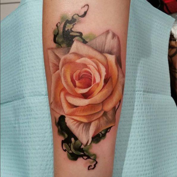 Luxurious Pink Rose Tattoo by Sarah Miller