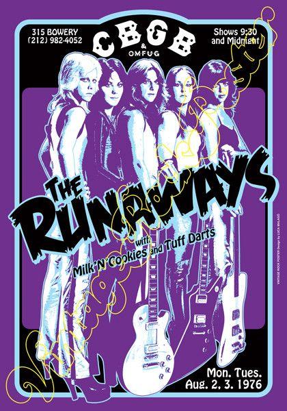 runaways,Joan Jett, Cherie Currie, Lita Ford, Sandy West, Jackie Fox, Michael Steele, Vicki Blue, Laurie McAllister, Peggy Foster,i love rock n roll,glam rock,runaways poster,female, girl power,rock