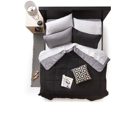 Reversible Black Comforter Set - Queen