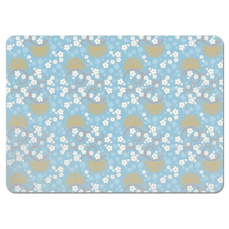 Uneekee Eastern Magic Blue Placemats (Set of 4) (Eastern Magic Blue Placemat) (Polyester, Floral)