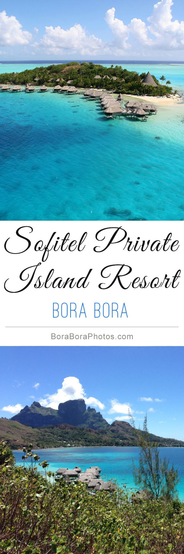 Sofitel Private Island Resort - This Bora Bora hotel emphasizes privacy and intimacy with only 30 luxury overwater bungalows located over the lagoon. Enjoy your tropical honeymoon or vacation with panoramic views and a relaxing holistic spa.