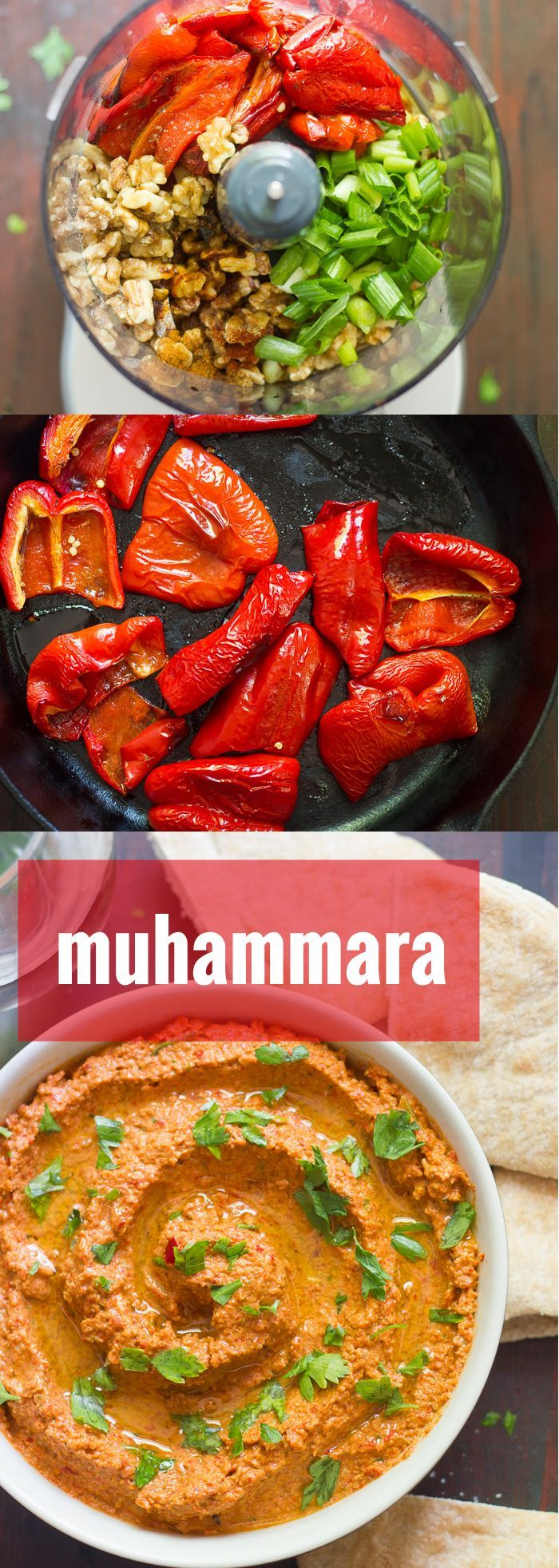 Muhammara (Roasted Red Pepper & Walnut Dip). A smoky sweet mixture of roasted red peppers, walnuts and spices goes into making this luscious muhammara.