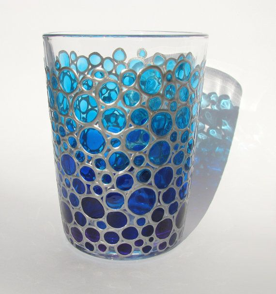 Hand painted Glass Blue Bubbles