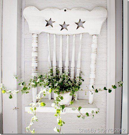 Chair Shelf for the backyard eyesore (fence)!!